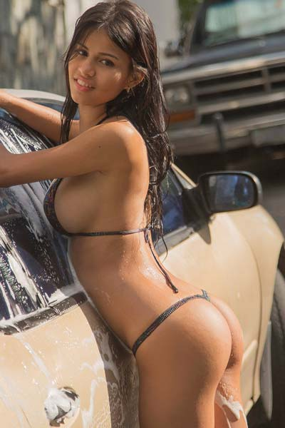 Model Denisse Gomez in Car Wash